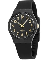Swatch Golden Tac Black Dial Black Silicone Unisex Watch