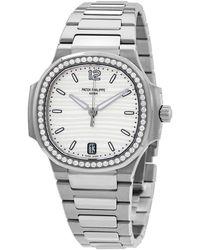 Patek Philippe Nautilus Automatic Diamond Silver Dial Unisex Watch -010 - Metallic