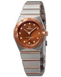 Omega Constellation Manhattan Sun-brushed Brown Diamond Dial Ladies Watch - Multicolour
