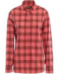Burberry Crow Check Cotton Shirt - Red