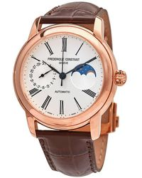 Frederique Constant Classic Moonphase Automatic Silver Dial Mens Watch -712ms4h4 - Metallic