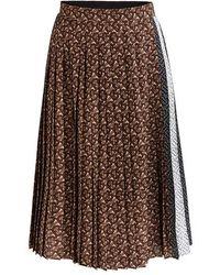 Burberry Brown Monogram Stripe Pleated Skirt, Brand