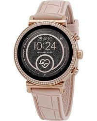 Michael Kors Access Gen 4 Sofie Rose Gold-tone And Embossed Silicone Smartwatch - Multicolor