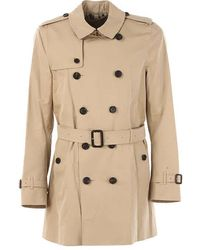 Burberry Mens Kensington Mid Length Trench Coat - Yellow
