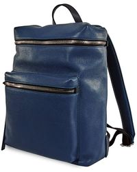 Burberry Mens Backpack London Grainy Leather Backpack - Blue