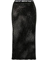 Off-White c/o Virgil Abloh Logo Waistband Fishnet Skirt - Black