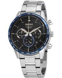 Seiko Neo Sports Chronograph Quartz Black Dial Mens Watch - Metallic