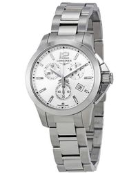 Longines Conquest Chronograph Silver Dial Unisex Watch - Metallic