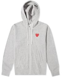 Comme des Garçons Ladies Embroidered Hearts-appliqued Cotton-jersey Hoodie, Brand - Grey