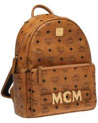 MCM Trilogie Stark Visetos Backpack - Brown