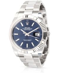 Rolex Pre-owned Oyster Perpetual Automatic Chronometer Blue Dial Mens Watch - Metallic