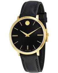 Movado - Ultra Slim Black Sunray Dial Black Leather Ladies Watch - Lyst