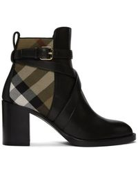 Burberry - Vaughan Vintage Check And Leather Block-heel Boots, Brand - Lyst