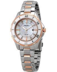 Seiko Solar Diamonds Mother Of Pearl Dial Two-tone Ladies Watch - Metallic