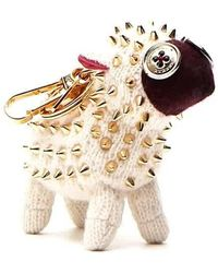Burberry White Multi Wendy Studded Sheep Key Charm