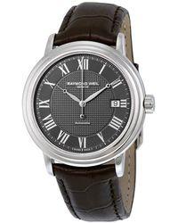 Raymond Weil Maestro Automatic Leather Strap Mens Watch -stc-00609 - Metallic