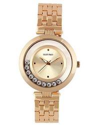 Ellen Tracy Quartz Rose Gold-tone Crystal Watch - Metallic