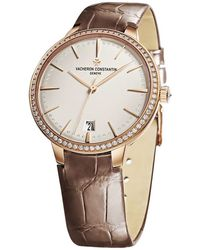 Vacheron Constantin Malte Silver Dial 18k Rose Gold Diamond Ladies Watch -9742 - Metallic