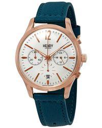 Henry London Stratford Chronograph White Dial Unisex Watch -cs-0144 - Metallic