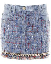 Balmain Ladies Blue Tweed Detail Denim Skirt, Brand