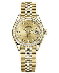Rolex Lady-datejust Champagne Diamond Dial Automatic Jubilee Watch - Metallic