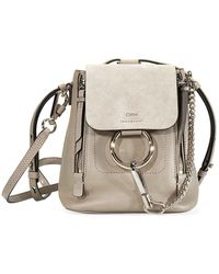 Chloé Open Box - Ladies Grey Faye Mini Backpack - Gray