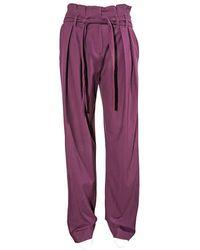 Victoria Beckham - Ladies Pants Purple 2 Pleat Tie Pant - Lyst