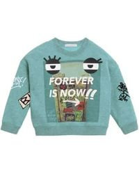 Burberry Kids Forever Is Now Print Turquoise Cotton Sweatshirt, Brand - Green