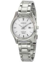Seiko Silver Dial Stainless Steel Quartz Ladies Watch - Metallic
