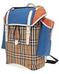 Burberry Colour Block Vintage Check And Leather Backpack- Blue/orange Range