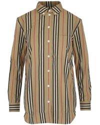 Burberry Ladies Button-down Collar Icon Stripe Long-sleeve Shirt, Brand - Natural