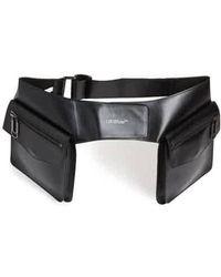 Off-White c/o Virgil Abloh Double-pocket Leather Belt Bag In Black