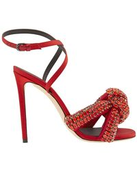 Marco De Vincenzo Knotted Crystal-embellished Satin Sandals Red