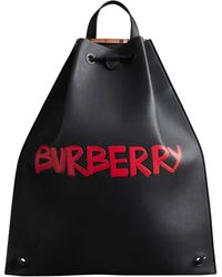 Burberry Black Mens Front Logo Backpack