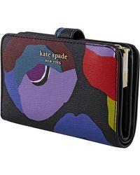 Kate Spade Ladies Spencer Floral Compact Wallet - Black