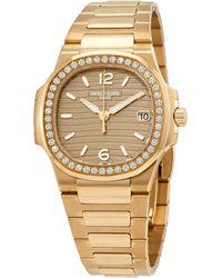 Patek Philippe Nautilus Quartz Diamond Gold Dial Watch -012 - Metallic