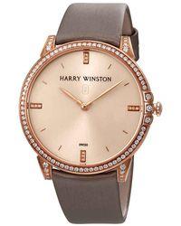 Harry Winston Midnight Champagne Sunray Dial 18kt Rose Gold Diamond Satin Ladies Watch - Metallic