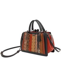 COACH Kisslock Dreamer 21 With Signature Canvas Patchwork Stripes And Snakeskin Detail - Black