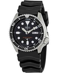 Seiko Automatic Black Dial Black Rubber Mens Watch