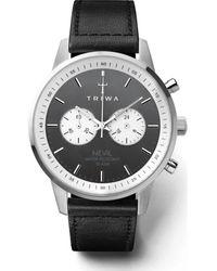 Triwa Nevil Quartz Black Dial Black Leather Watch