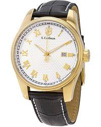 S. Coifman Metallic White Dial Black Leather Mens Watch
