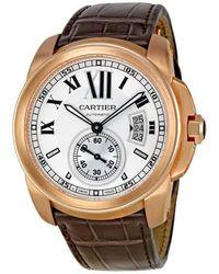 Cartier - Calibre De 18kt Pink Gold Silver Dial Mechanical Mens Watch - Lyst