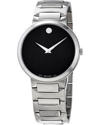 Movado Defio Black Dial Stainless Steel Mens Watch