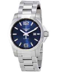 Longines Conquest Blue Dial Stainless Steel Mens Watch