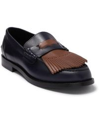 Burberry Contrast Kiltie Fringe Leather Loafers - Multicolour