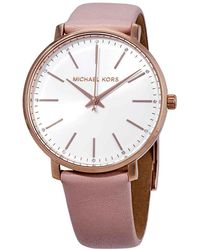 Michael Kors - Pyper White Dial Pink Leather Ladies Watch - Lyst