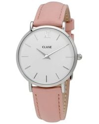Cluse Minuit Silver White - Pink