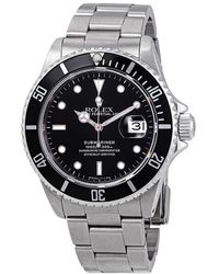 Rolex Pre-owned Submariner Black Dial Stainless Steel Aluminum Bezel Oyster Automatic Mens Watch - Metallic