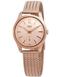 Henry London Shoreditch Stainless Steel Analog Bracelet Watch - Pink