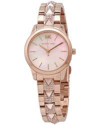 Michael Kors Petite Runway Mercer Pavé Rose Gold-tone And Mother-of-pearl Watch - Metallic